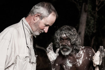 Rolf de Heer and David Gulpilil on the set of <i>Charlie's Country</i> in 2013.