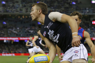 Blues captain Patrick Cripps in action against the Bulldogs on Sunday.
