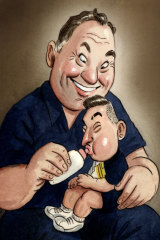 Helpng hand: Mo Lahyani and Nick Krygios. Illustration: John Shakespeare