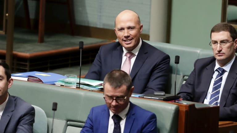 Former home affairs minister Peter Dutton on the backbench on Tuesday afternoon.