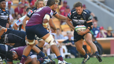Leading No.1 James Slipper on the charge for the Brumbies on Sunday in Brisbane.