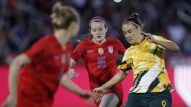 Australia forward Caitlin Foord with possession.