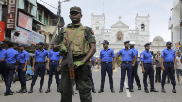 Sri Lankan Army soldiers secure the area around St. Anthony's Shrine after a blast in Colombo, Sri Lanka.