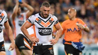 Playing through pain: Wests Tigers hooker Robbie Farah.