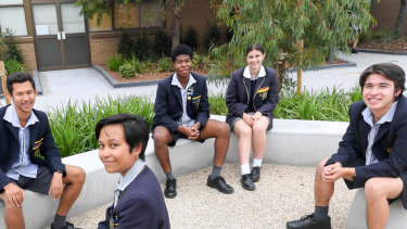 Westbourne Grammar students (left to right) Shakeel Manuel, Tasha Gacutan, Divine Emezie, Ruby Tripodi and Will Stomann.