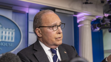 Larry Kudlow, director of the U.S. National Economic Council, speaks during a White House briefing on Tuesday.
