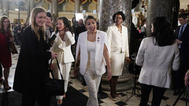 Congresswoman Alexandria Ocasio-Cortez arrives at the Capitol.