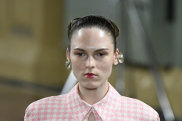 Dewy skin and bold lips at Emilia Wickstead.