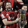 Champions: The Crusaders celebrate their ninth Super title last year - but their historic name could now change.