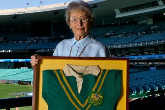 Joyce Churchill, the widow of Clive Churchill, with his treasured 1948 Test debut jersey.