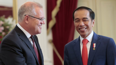 Indonesian President Joko Widodo with Prime Minister Scott Morrison ahead of his inauguration.