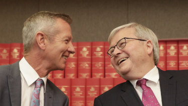 Former prime minister Kevin Rudd with Peter Hartcher at the launch of his Quarterly Essay on at Parliament House on Tuesday.