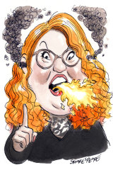 """Long-time spinner Rebecca Tabakoff was unhappy to hear Philip Morris' presentation about being """"pro-choice"""". Illustration: John Shakespeare"""