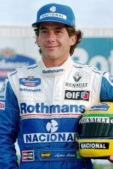 Ayrton Senna poses for photos at the Williams team presentation in January of 1994.