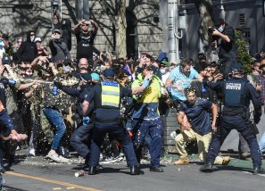 Anti-lockdown protesters in Melbourne last month.