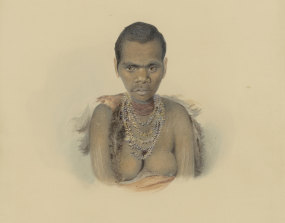 Truganini (mislabelled as Fanny) by Thomas Bock, ,1836.  Copyright - The Trustee's of the British Museum