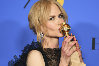 Nicole Kidman at the 2018 Golden Globes after winning best actress for Big Little Lies.
