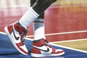 Michael Jordan of the Chicago Bulls sports Nike Air Jordan 1 shoes circa 1985 in Landover, Maryland.