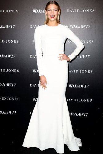 American supermodel Karlie Kloss in an RV dress in Sydney last year.