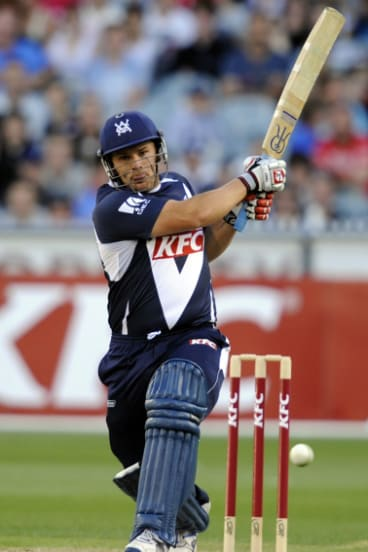 Aaron Finch bats for Victoria in 2011