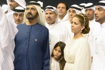 Sheikh Mohammed and Princess Haya with their daughter, Sheikha Al Jalila Bint Mohammed al-Maktoum in 2014.