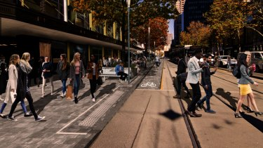 How part of Elizabeth Street could look under a Melbourne City Council plan to make it more pedestrian friendly.