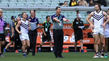 Ross Lyon will expect much from his players if they are to upset the Eagles at Optus Stadium in Western Derby 49.
