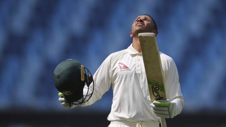 Emotions: Usman Khawaja had some choice words for his critics after his outstanding knock.