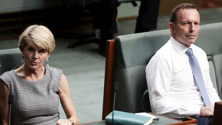 Not happy campers: Julie Bishop and Tony Abbott during a division in the House of Representatives.
