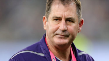 Unshaken: Fremantle coach Ross Lyon is adamant he'll be coaching the club in 2020.