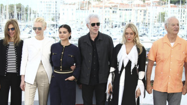 From left, Sara Driver, Tilda Swinton, Selena Gomez, Jim Jarmusch, Chloe Sevigny and Bill Murray at the photo call for The Dead Don't Die at the 72nd Cannes Film Festival.