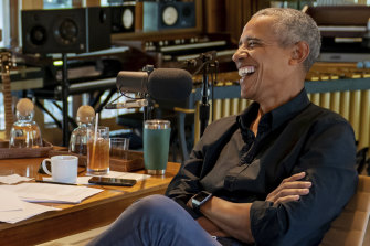 Bruce Springsteen appears with  former President Barack Obama during their podcast of conversations recorded at Springsteen's home studio in New Jersey.
