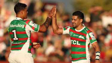 Souths strike weapons Latrell Mitchell and Cody Walker lit up Glen Willow Stadium on Saturday.
