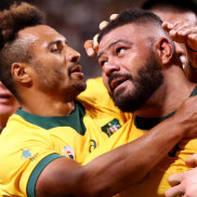 The spoils: Tolu Latu gets the credit for scoring at the end of a rolling maul against Fiji.