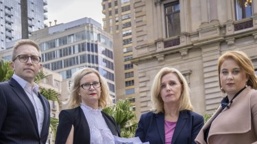 Not happy, Tim:  Matthew Kandelaars of the Urban Development Institute, Leah Calnan from the Real Estate Institut Fiona Nield from the Housing Institute Association and Danni Hunter of Property Council are unhappy with the state government's property tax hikes..