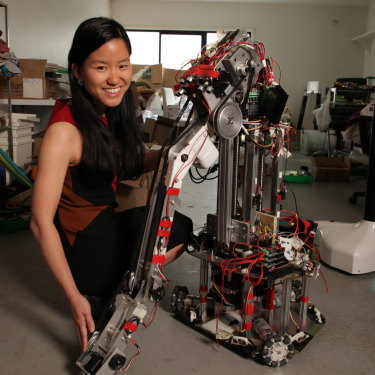 Cheng with her Jevaroo robotic arm, which is due for launch next year.