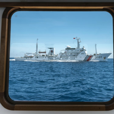 A Chinese coast guard ship near the Scarborough Shoal, a reef in the South China Sea claimed by both China and the Philippines.