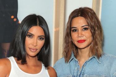 Double denim queen Christine Centenera (right) with Kim Kardashian West in Los Angeles.