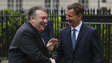 US Secretary of State Mike Pompeo (left) meets with Britain's Foreign Secretary Jeremy Hunt for talks amid escalating tensions with Iran.