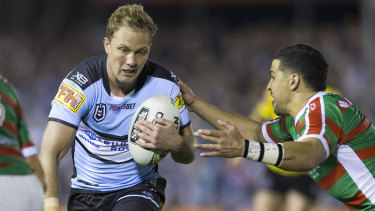 Matt Moylan runs the ball during the win over the Rabbitohs.