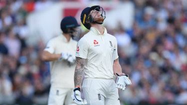 England batsman Ben Stokes reacts as he leaves the field after being dismissed by Pat Cummins during day five of the fourth Ashes Test Match.