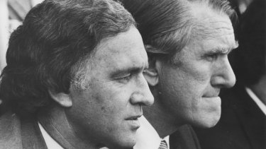 Andrew Peacock and Malcolm Fraser  watching the 1980 Melbourne Cup.