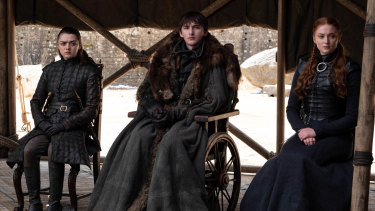 The surviving Stark siblings, Arya, Brandon and Sansa.