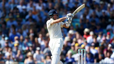 The mainstay: Joe Denly hits out on day three at The Oval, where Australia toiled for only late reward.