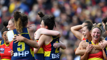 Adelaide celebrate a goal during the AFLW grand final.