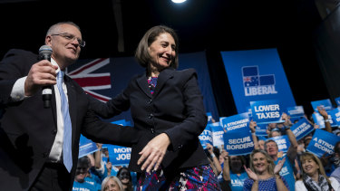 """Scott Morrison and Gladys Berejiklian at a Liberal Party rally in Sydney in 2019. On Friday he called her a """"dear friend"""" who had displayed """"heroic qualities"""" as Premier."""