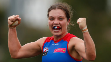 Ellie Blackburn clenches her fists as the final siren sounds