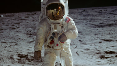The steps on the moon made by Buzz Aldrin, pictured, and Neil Armstrong are brought to life once more in the documentary Apollo 11.
