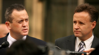 Michael Harvey, right, and Gerard McManus  speak to the media on the steps of the County Court in 2007.