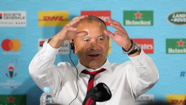 How it's done: Eddie Jones explains how England beat New Zealand in the after-match press call.